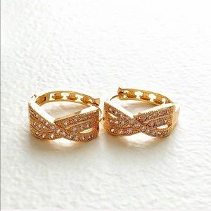 JUST IN Crystal Crisscross Hoop Earrings